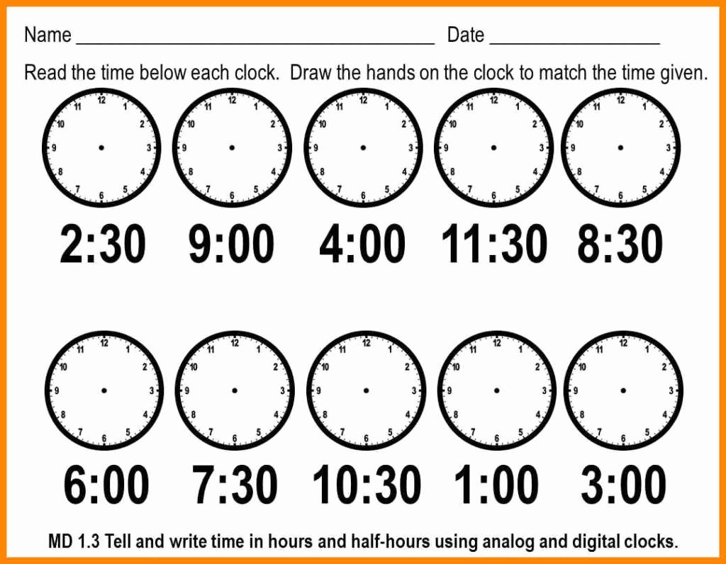 Telling Time Worksheets Printable – Worksheet Template - Free | Printable Telling Time Worksheets 1St Grade