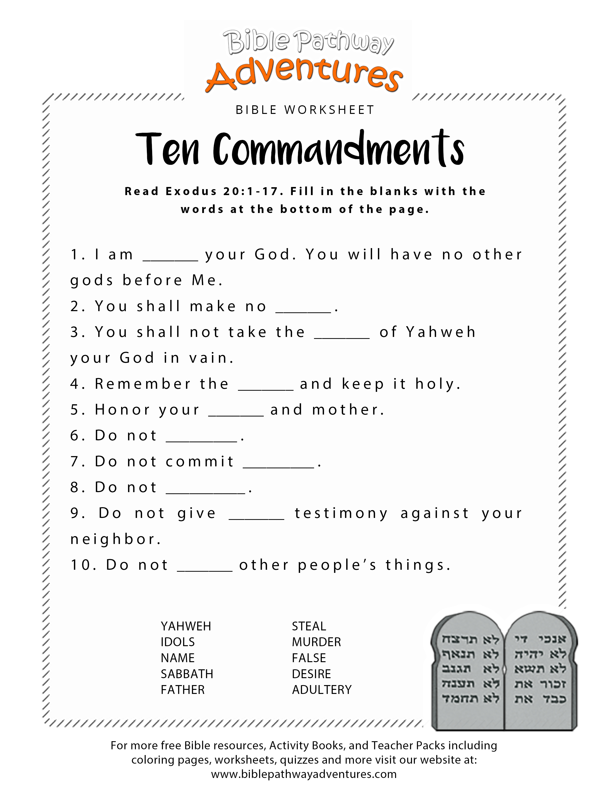 Ten Commandments Worksheet For Kids | Junior Church | Bible Lessons | 10 Commandments Printable Worksheets