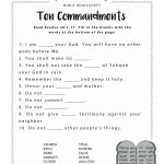Ten Commandments Worksheet For Kids | Junior Church | Bible Lessons | Free Printable Children's Bible Lessons Worksheets