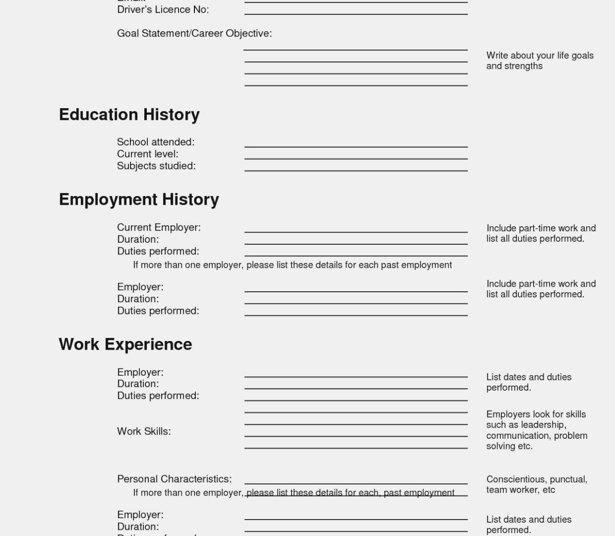 Ten Important Facts That You | The Invoice And Resume Template | Printable Resume Builder Worksheet