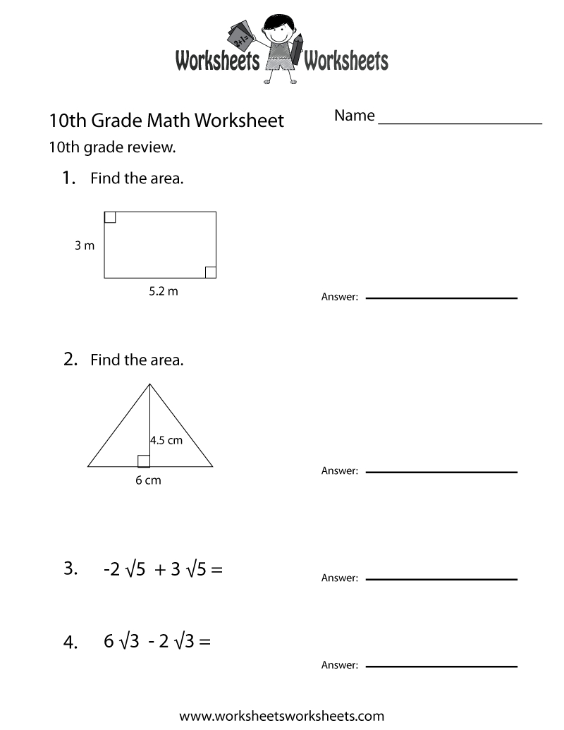 Tenth Grade Math Practice Worksheet Printable   School/kids   Math   10Th Grade Language Arts Printable Worksheets