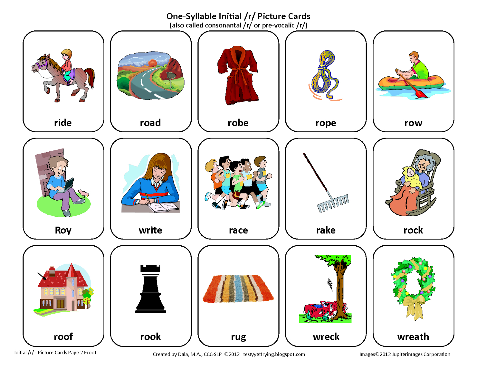 Testy Yet Trying: Initial R: Free Speech Therapy Articulation - Free | Articulation Printable Worksheets