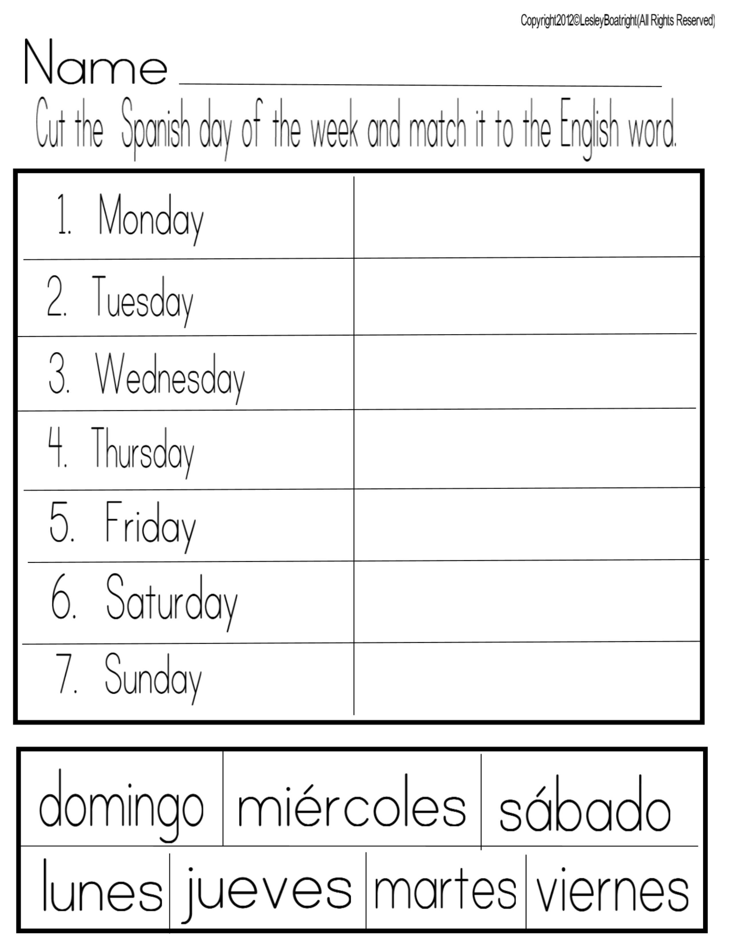 Thank You God! | Spanish | Preschool Spanish, Spanish Worksheets | Free Printable Spanish Worksheets Days Of The Week