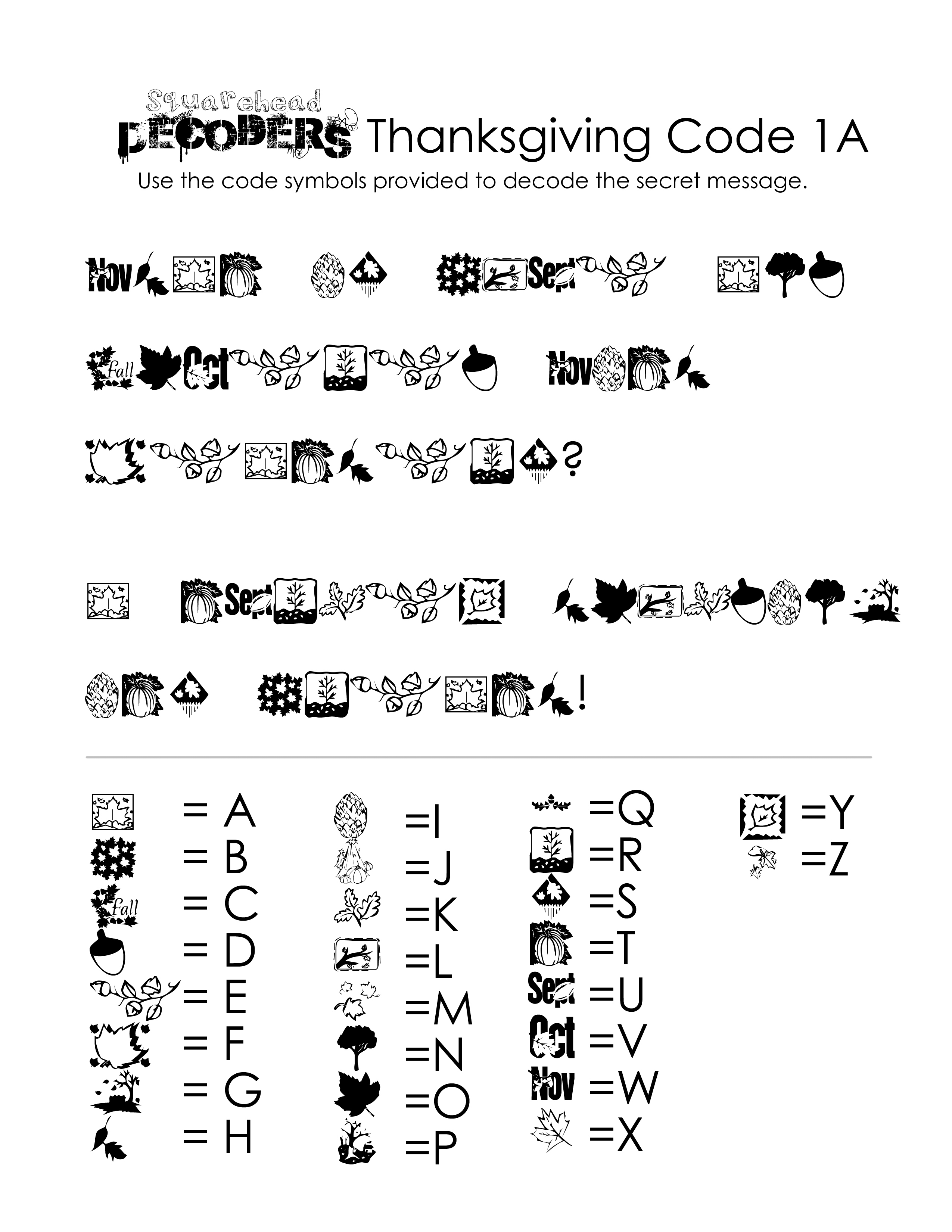 Thanksgiving Decoding Worksheets (Free!) | Squarehead Teachers | Printable Decoding Worksheets