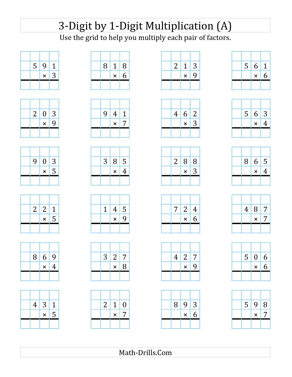 The 3-Digit1-Digit Multiplication With Grid Support (A) Math | Multiplication Worksheets Ks2 Printable