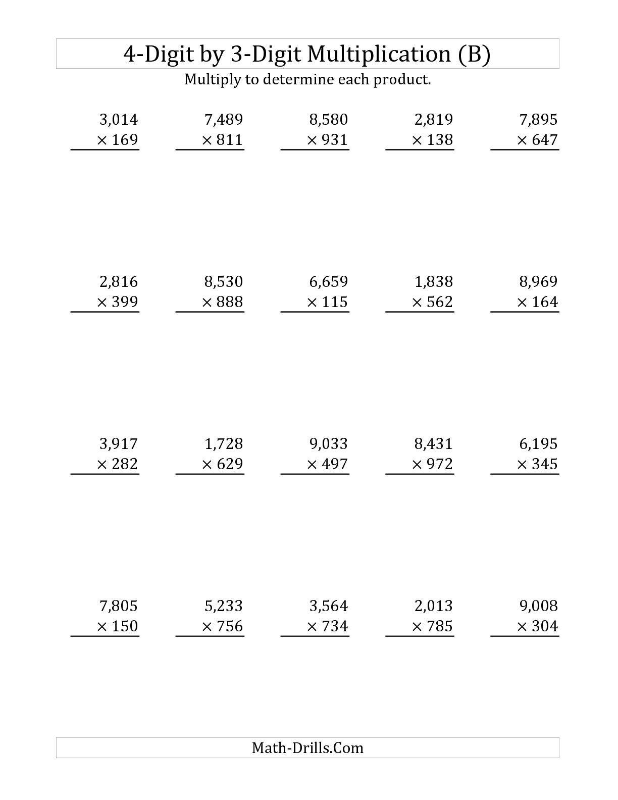 The 4-Digit3-Digit Multiplication (B) Long Multiplication   3 Digit Multiplication Worksheets Printable