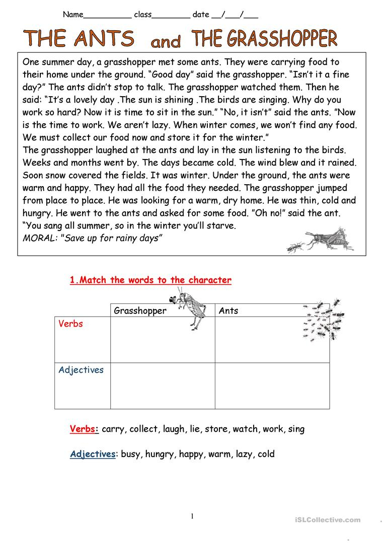 The Ants And The Grasshopper- Fable Worksheet - Free Esl Printable | Ant Worksheets Printables