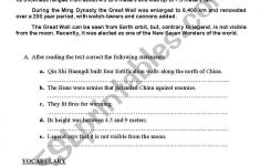 Great Wall Of China Printable Worksheet