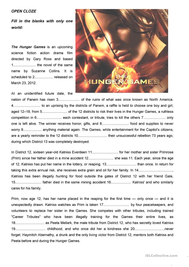 "The Hunger Games"" Open Cloze Worksheet - Free Esl Printable - Hunger 