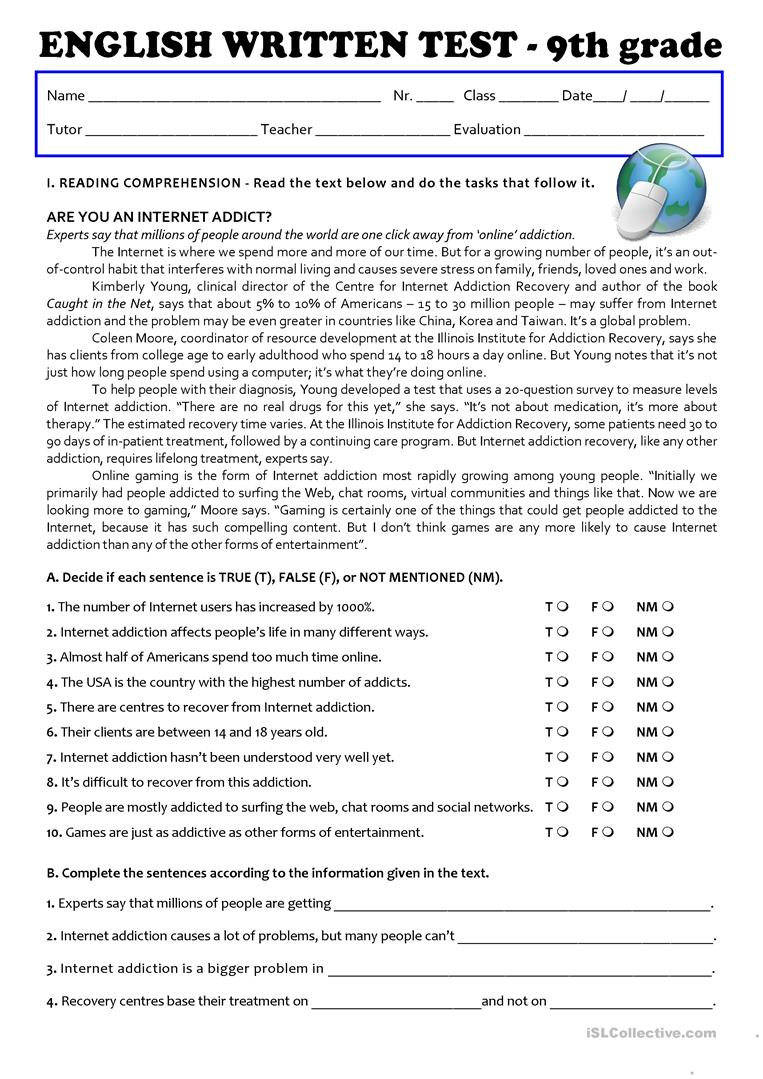 The Internet (Test 9Th Grade - A2/b1) Worksheet - Free Esl Printable | 9Th Grade Printable Worksheets Free