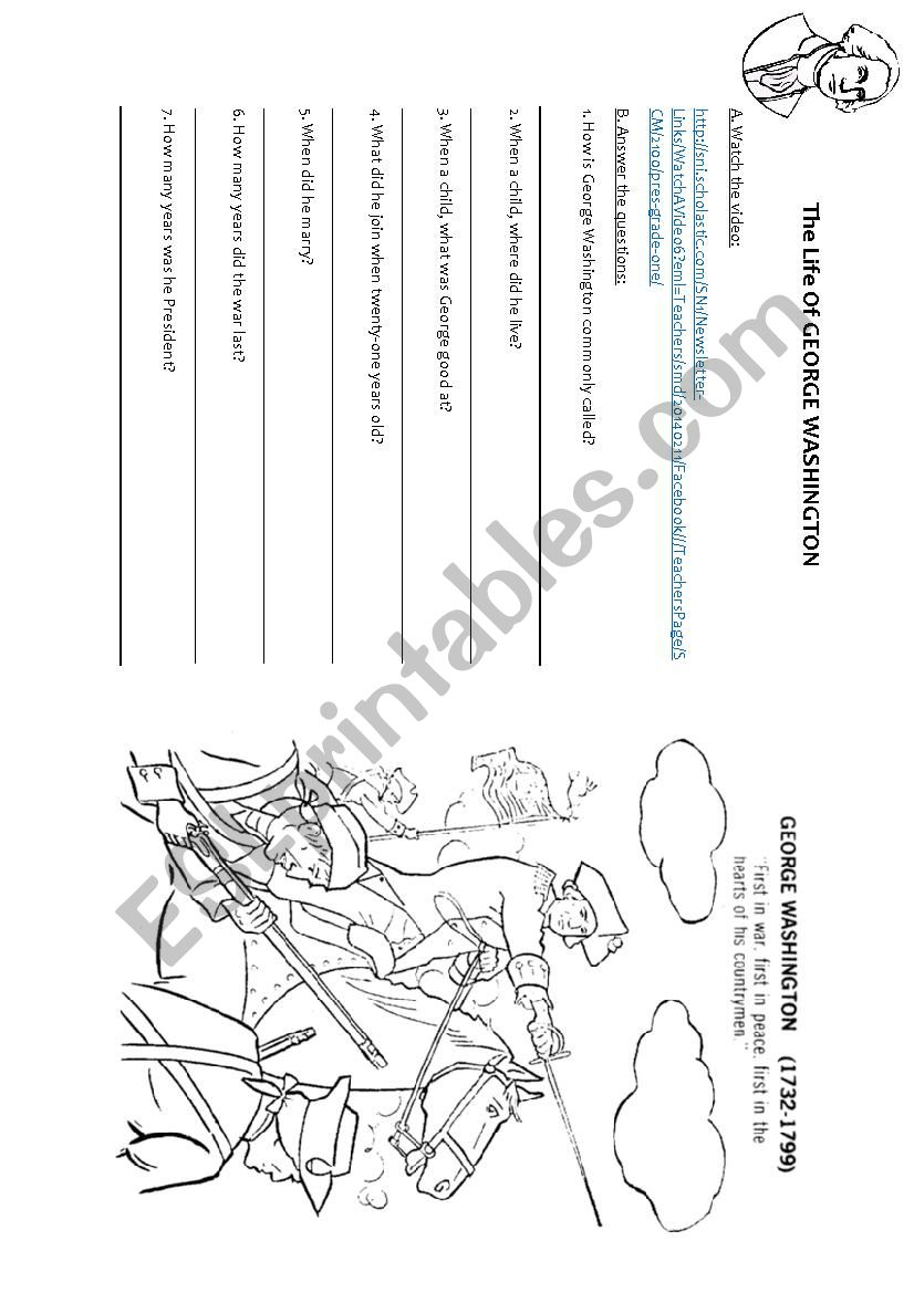 The Life Of George Washington - Esl Worksheetsophiemf | George Washington Printable Worksheets