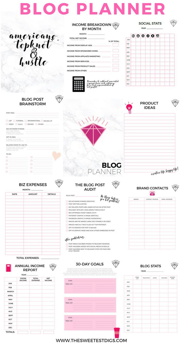 The Printable Blog Planner That Will Help You Grow Your Blog Biz | Blog Worksheet Printable
