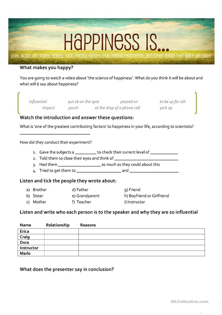 The Science Of Happiness Worksheet - Free Esl Printable Worksheets   Happiness Printable Worksheets