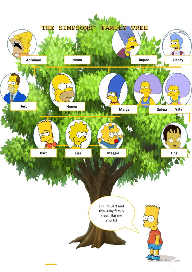 The Simpsons' Family Tree Worksheet - Free Esl Printable Worksheets | My Family Tree Free Printable Worksheets