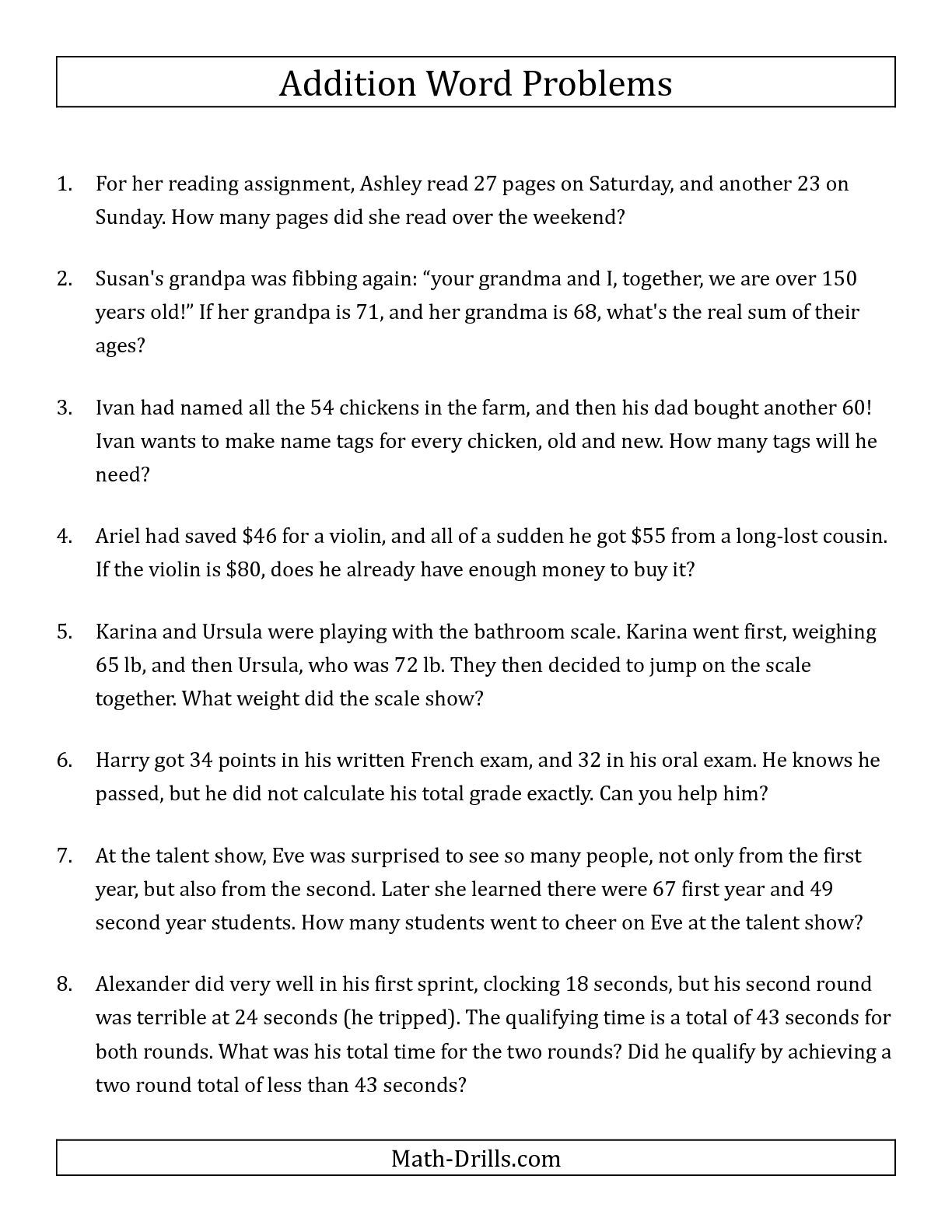 The Single-Step Addition Word Problems Using Two-Digit Numbers (A | Third Grade Math Word Problems Printable Worksheets
