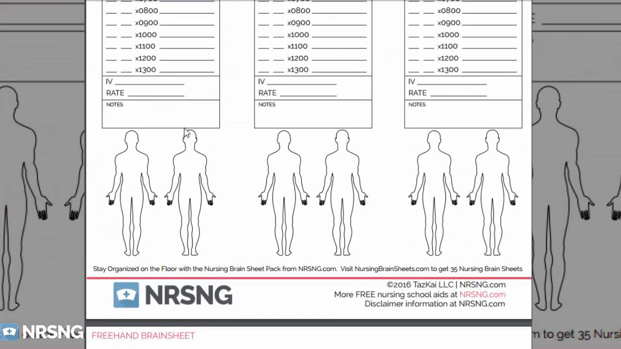 The Ultimate Nursing Brain Sheet Database (33 Nurse Report Sheet | Printable Nursing Worksheets