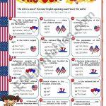 The Usa Quiz   Esl Worksheetmena22 | Usa Worksheets Printables
