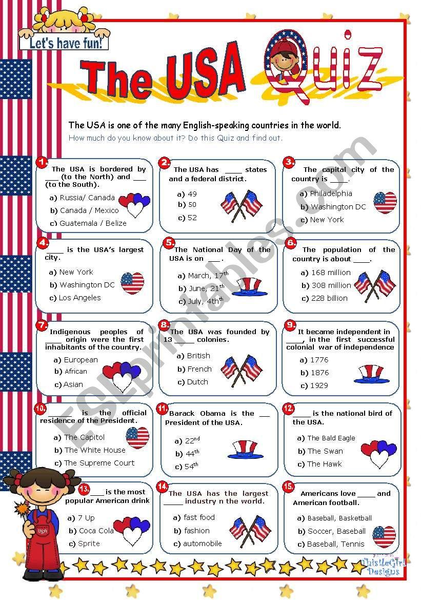 The Usa Quiz - Esl Worksheetmena22 | Usa Worksheets Printables