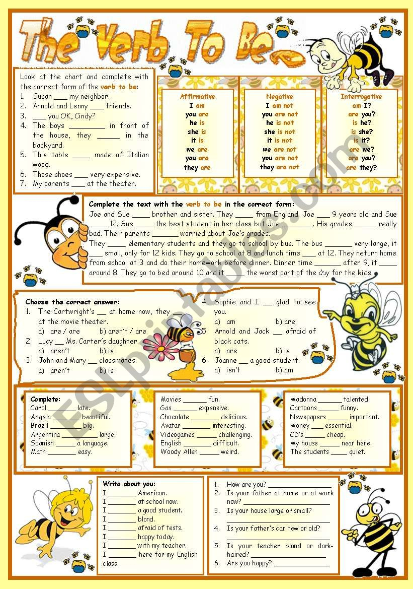 The Verb To Be-E – Reading • Grammar • Chart • Exercises • 6 Tasks   To Be Worksheets Printable