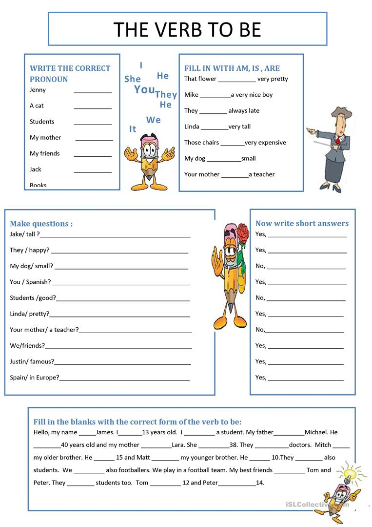 The Verb To Be Worksheet - Free Esl Printable Worksheets Made   To Be Worksheets Printable