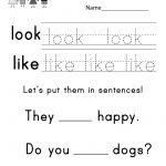 "This Is A Sight Word Worksheet For The Words ""look"" And ""like"". You 