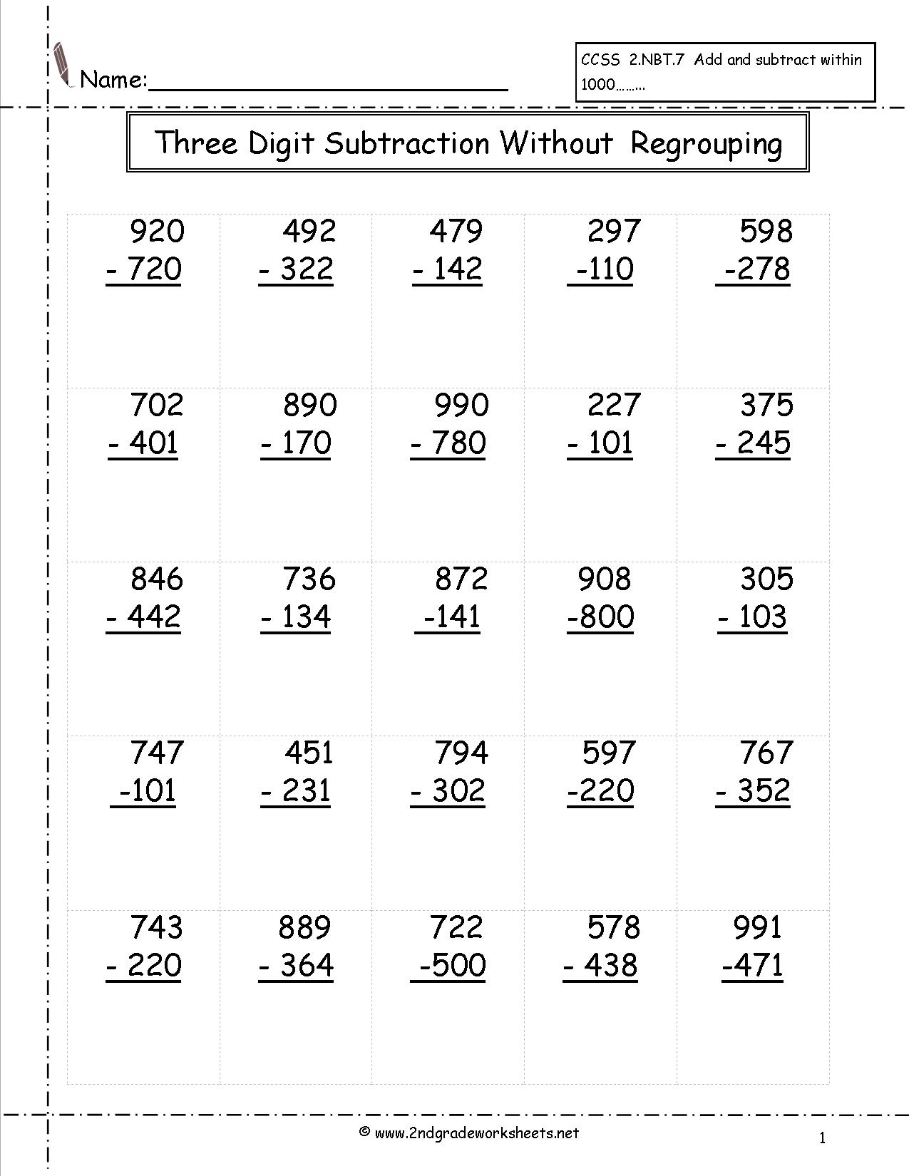 Three Digit Subtraction Worksheets | Printable Subtraction Worksheets With Regrouping