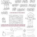 To Revise Colours | Esl Worksheets Of The Day | Teaching English | Colours Wordsearch Printable Worksheets