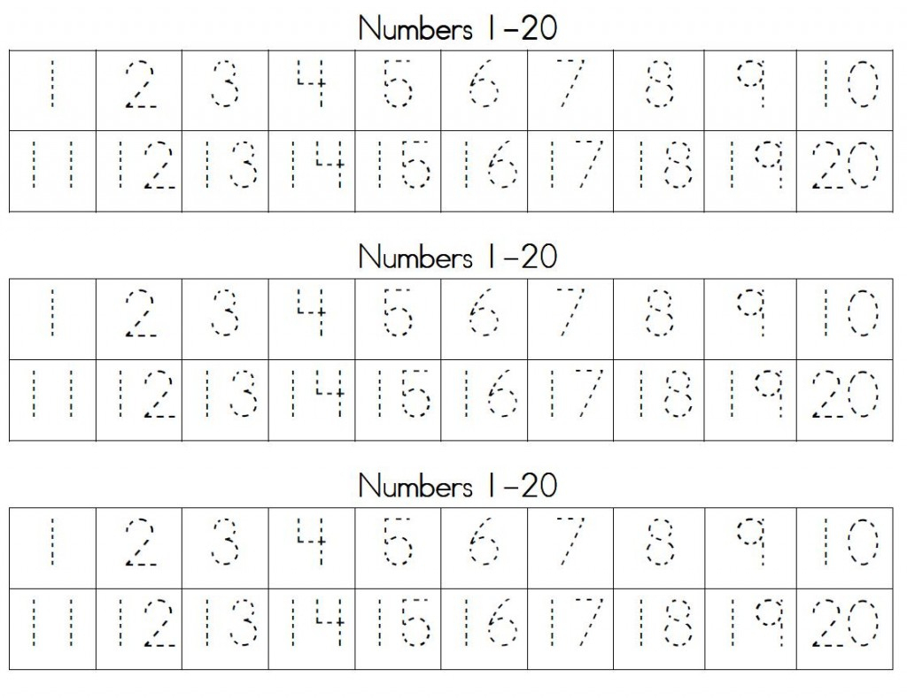 Trace Numbers 1 20 | Kiddo Shelter - Free Printable Counting | Free Printable Counting Worksheets 1 20