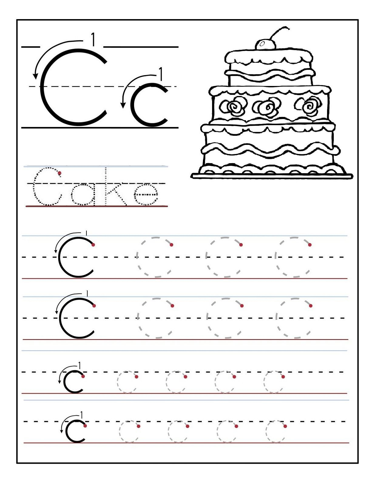 Trace The Letter C Worksheets   Alphabet And Numbers Learning   Letter C Printable Worksheets