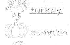 Tracing Activities For Kindergarten – With Preschool Worksheets Also | Free Printable Preschool Thanksgiving Worksheets