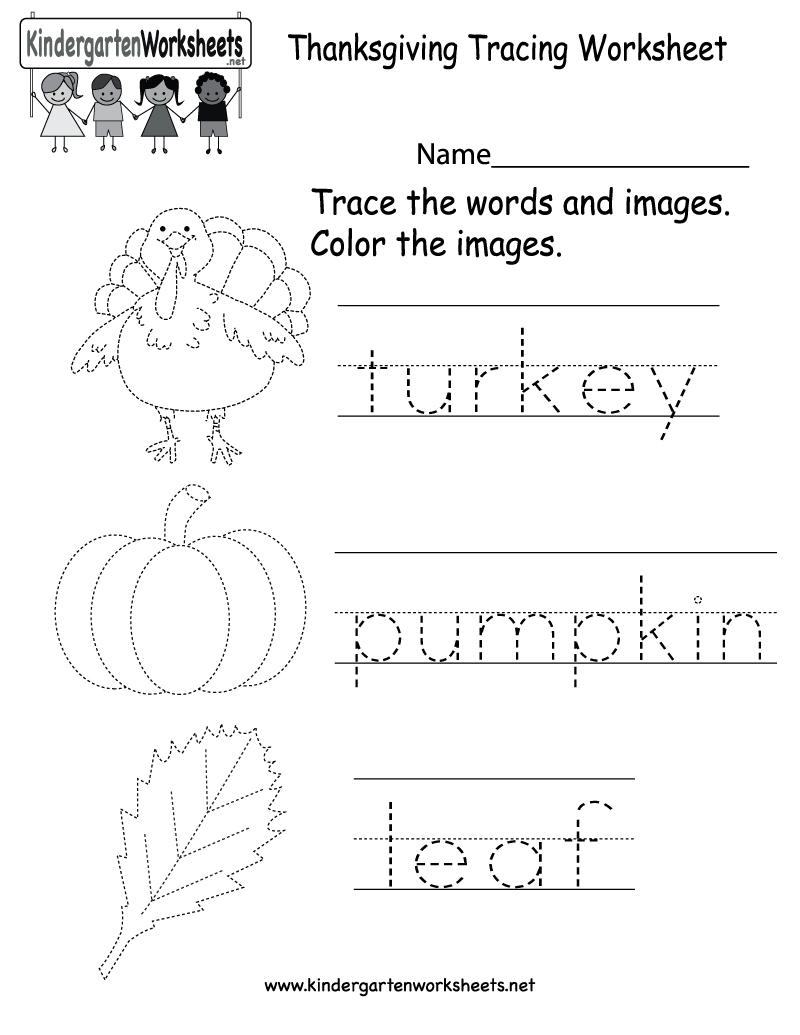 Tracing Activities For Kindergarten – With Preschool Worksheets Also | Free Printable Preschool Thanksgiving Worksheets