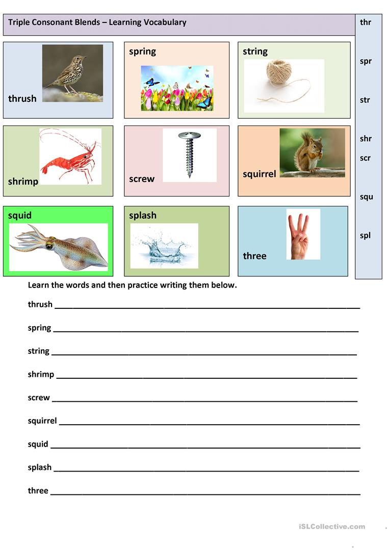 Triple Consonant Blends - Learning Vocabulary Worksheet - Free Esl | Free Printable Consonant Blends Worksheets