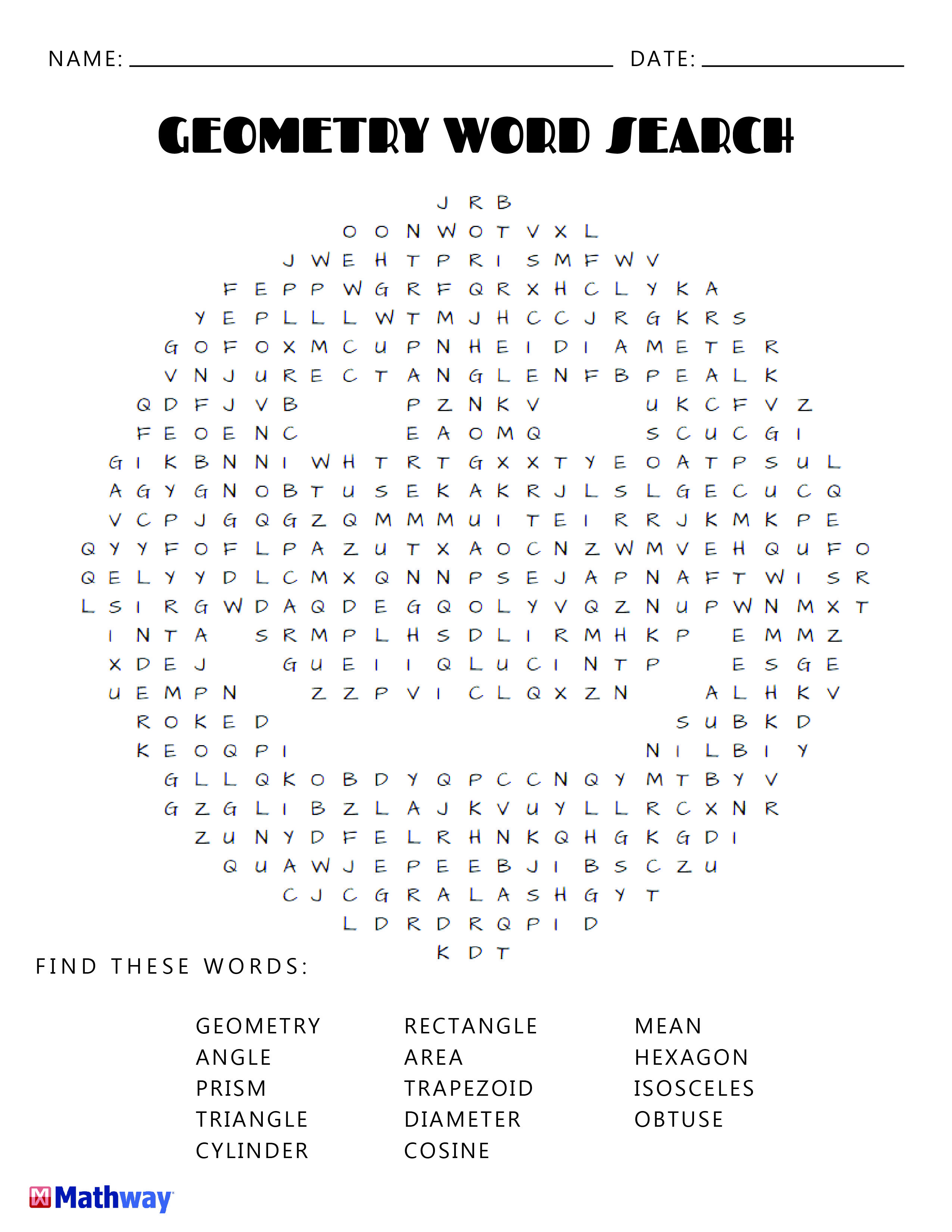 Try Our Geometry Smiley Face Word Search. Keep Busy With Our | Free Printable Math Word Search Worksheets
