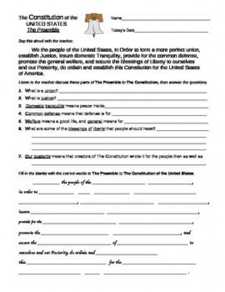 U. S. Constitution: Preamble And Bill Of Rights Worksheets With Free | Constitution Printable Worksheets