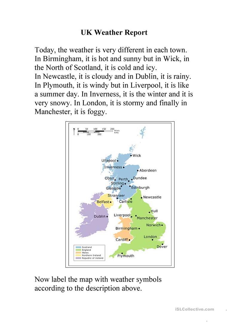 Uk Weather Report Worksheet - Free Esl Printable Worksheets Made | Free Printable Weather Map Worksheets