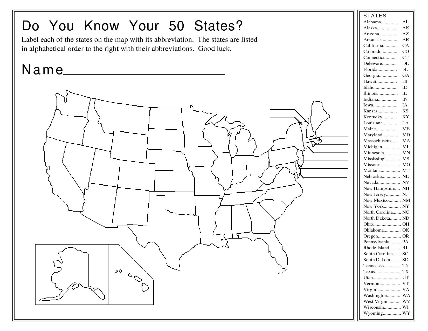 United States Map Activity Worksheet | Social Studies | Map | Usa Worksheets Printables