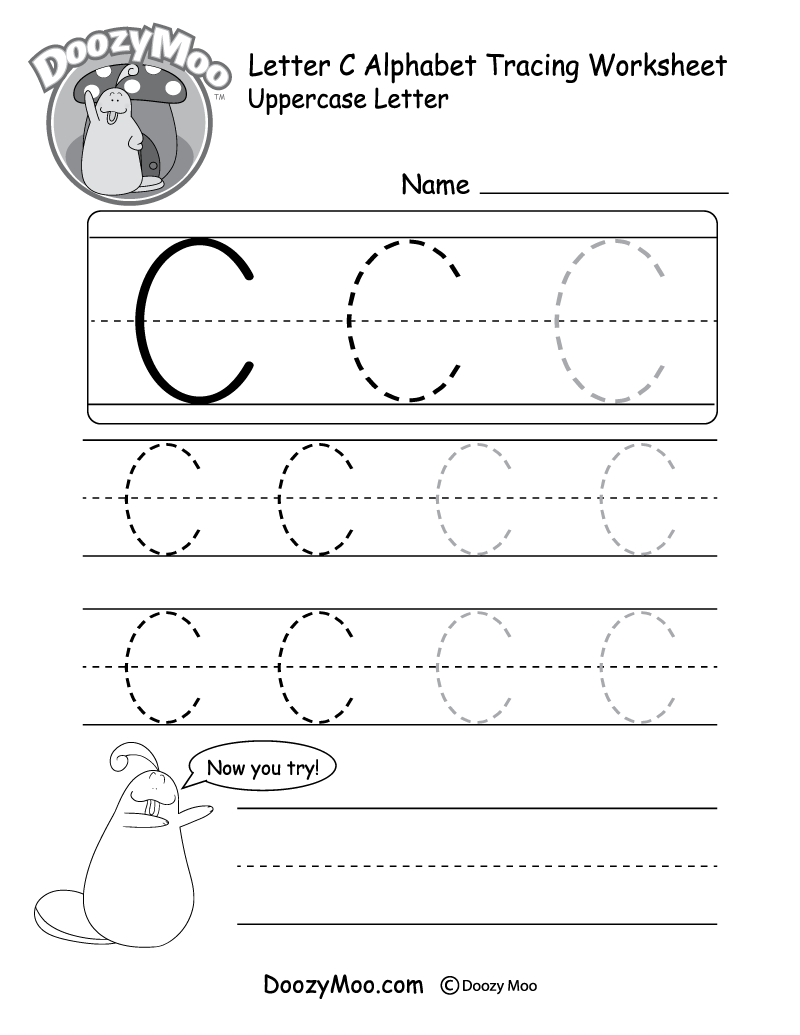 Uppercase Letter C Tracing Worksheet - Doozy Moo | Free Printable Letter C Worksheets