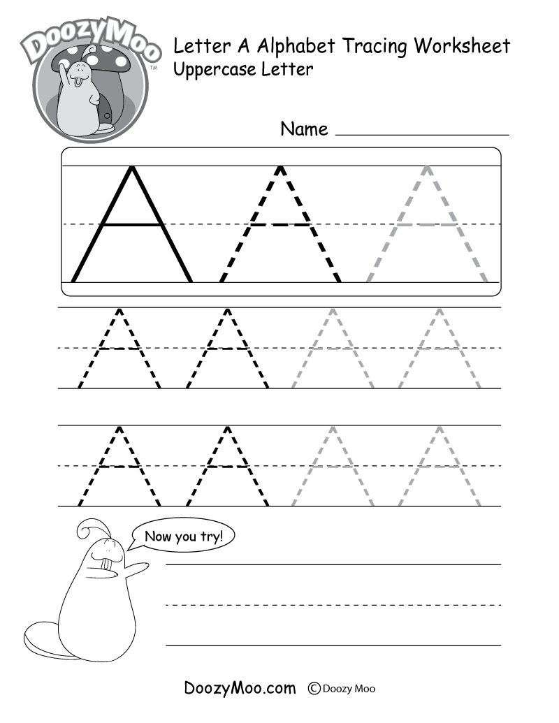 Uppercase Letter Tracing Worksheets (Free Printables) - Doozy Moo | Printable Printing Worksheets