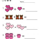 Valentine's Day Math Worksheet   Free Kindergarten Holiday Worksheet | Free Printable Preschool Valentine Worksheets