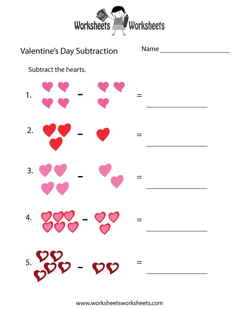 Valentine's Worksheets Free | Valentine's Day Subtraction Worksheet | Free Printable Preschool Valentine Worksheets