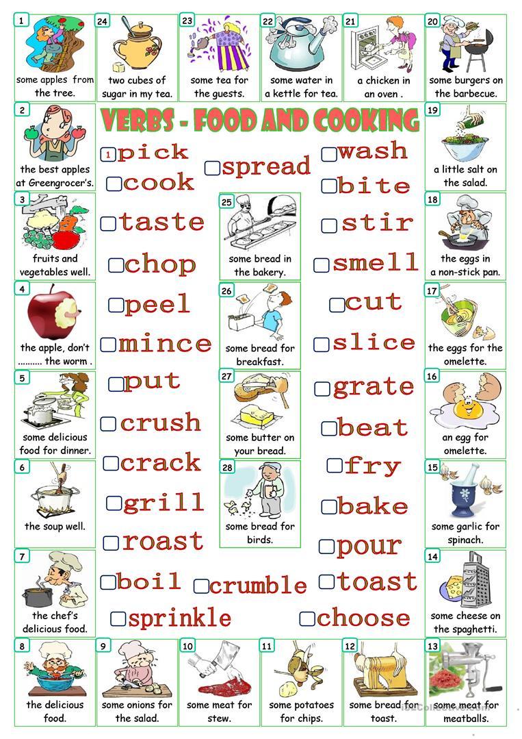 Verbs - Food And Cooking Worksheet - Free Esl Printable Worksheets | Cooking Verbs Printable Worksheets