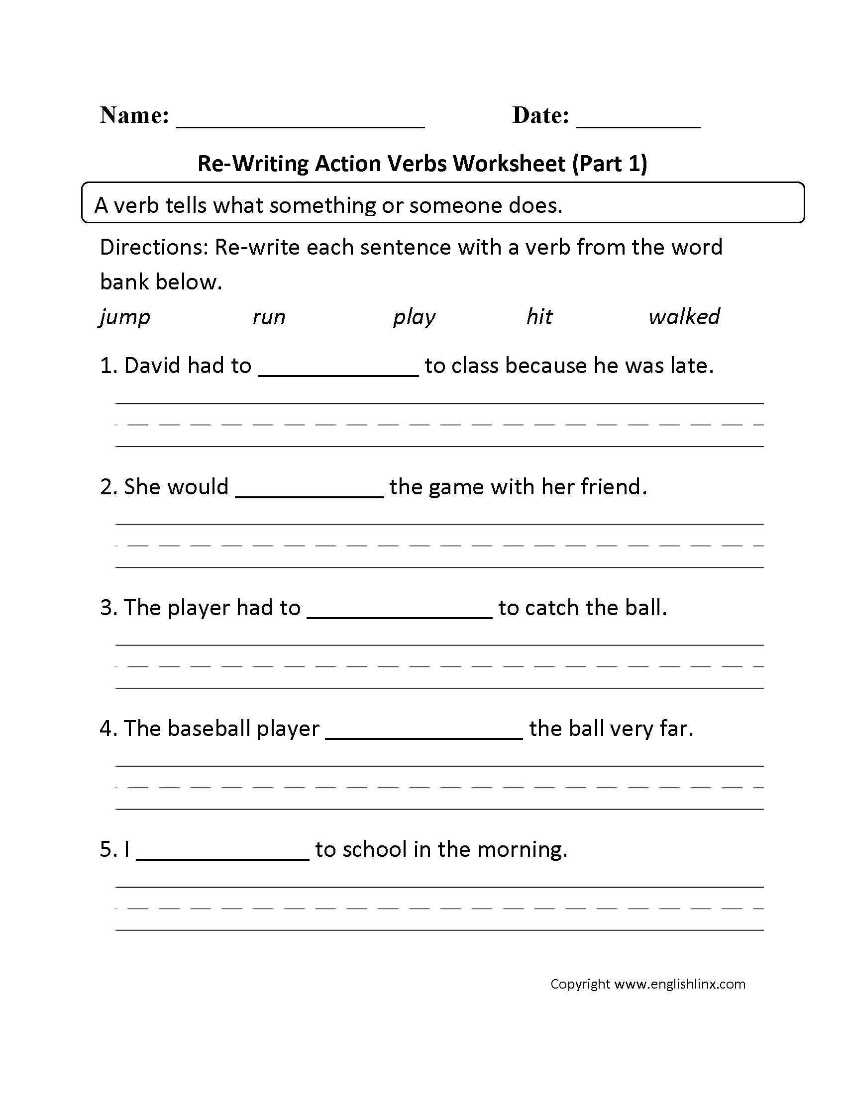 Verbs Worksheets | Action Verbs Worksheets | Free Printable Verb Worksheets