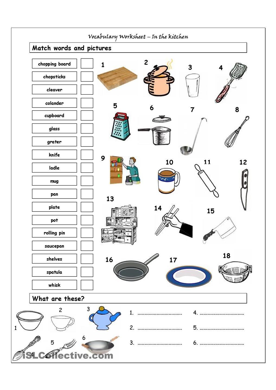 Vocabulary Matching Worksheet - In The Kitchen | Amazing | Life | Kitchen Utensils Printable Worksheets