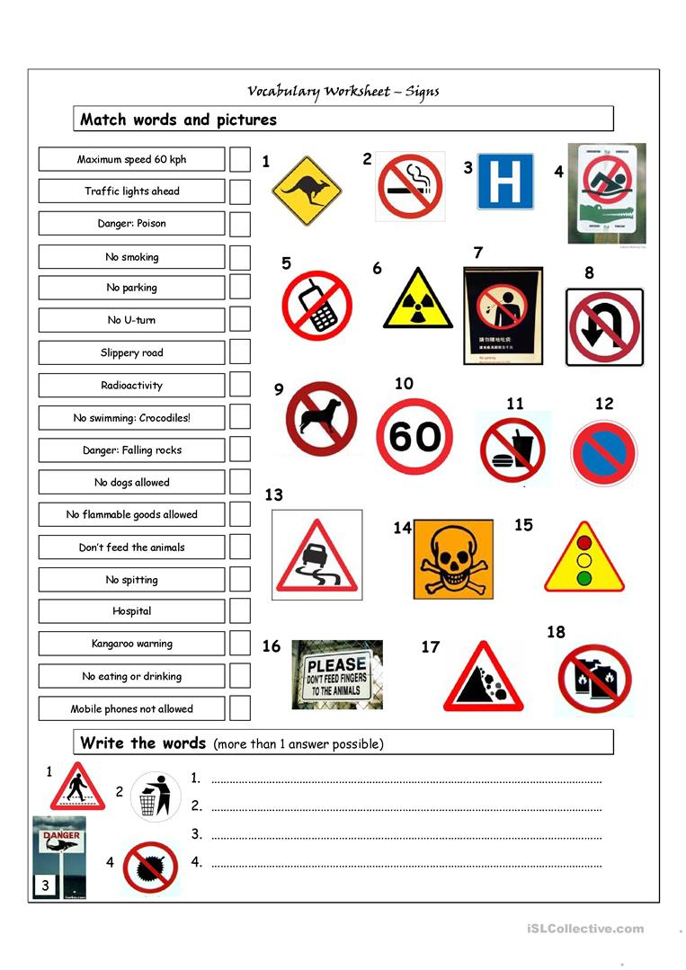 Vocabulary Matching Worksheet - Signs Worksheet - Free Esl Printable | Free Printable Traffic Signs Worksheets