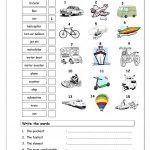 Vocabulary Matching Worksheet   Transport Worksheet   Free Esl | Free Printable Transportation Worksheets For Kids
