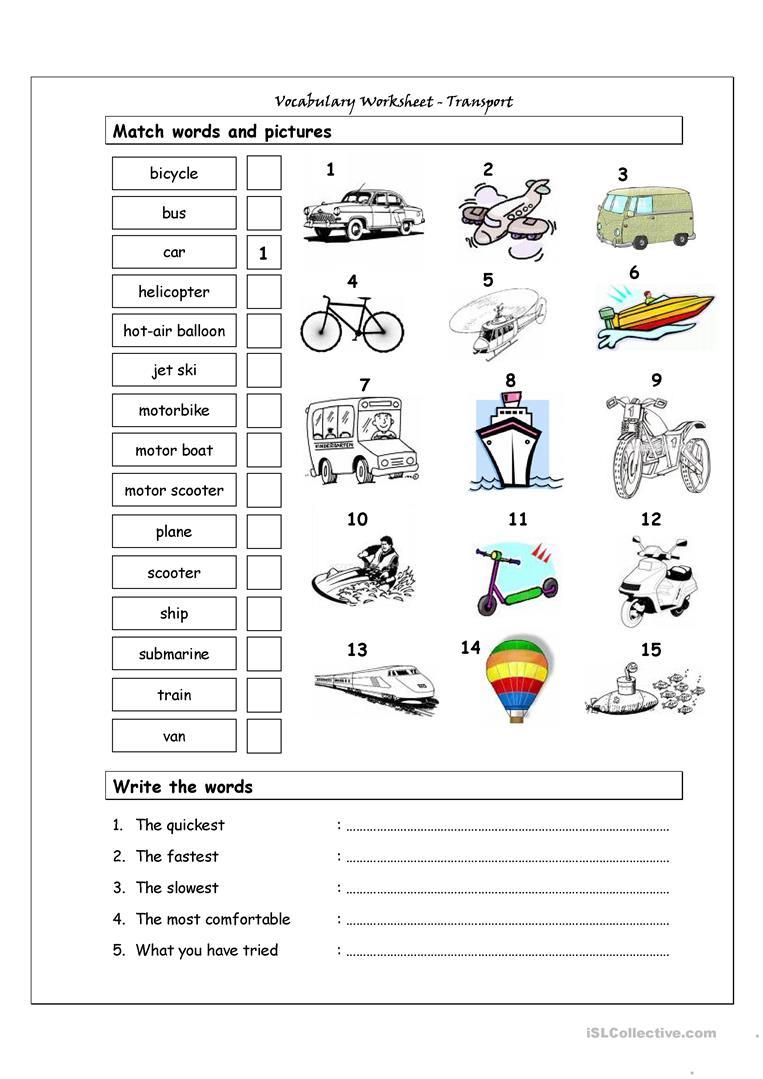 Vocabulary Matching Worksheet - Transport Worksheet - Free Esl | Free Printable Transportation Worksheets For Kids