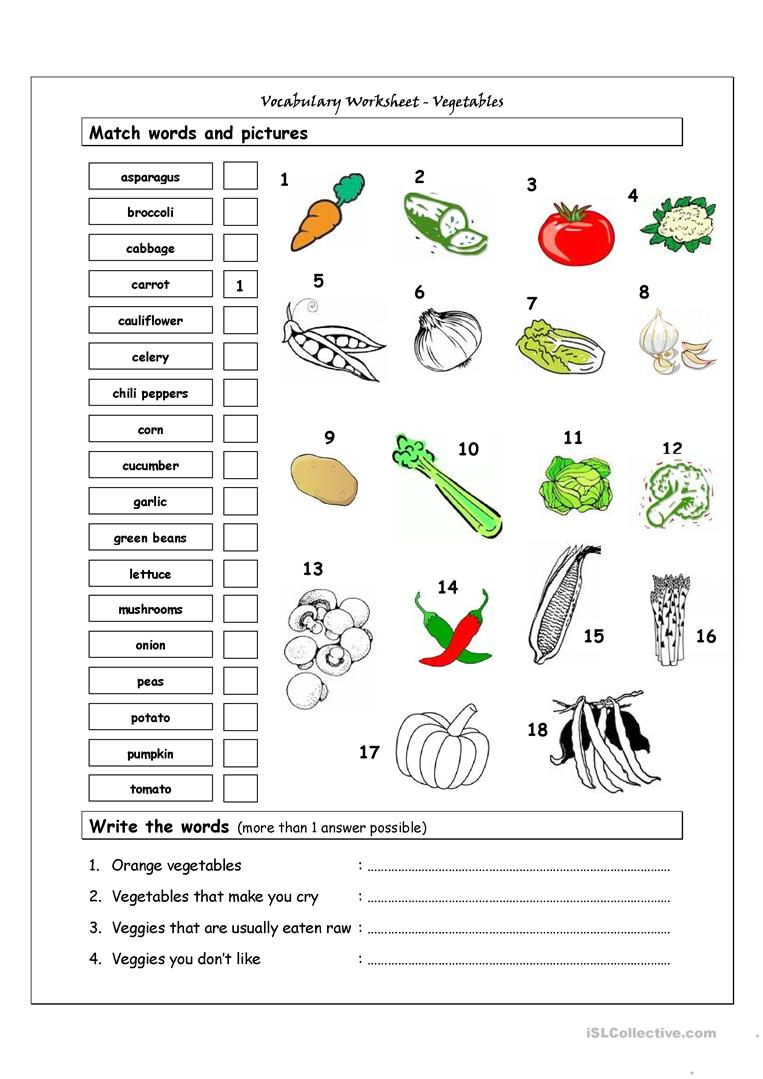Vocabulary Matching Worksheet - Vegetables Worksheet - Free Esl | Vegetables Worksheets Printables