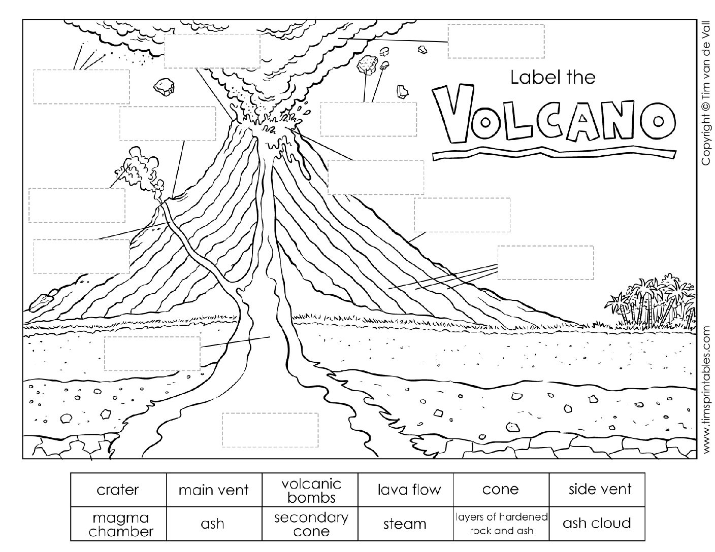 Volcano Parts Worksheet For Kids - Tim's Printables | Printable Volcano Worksheets