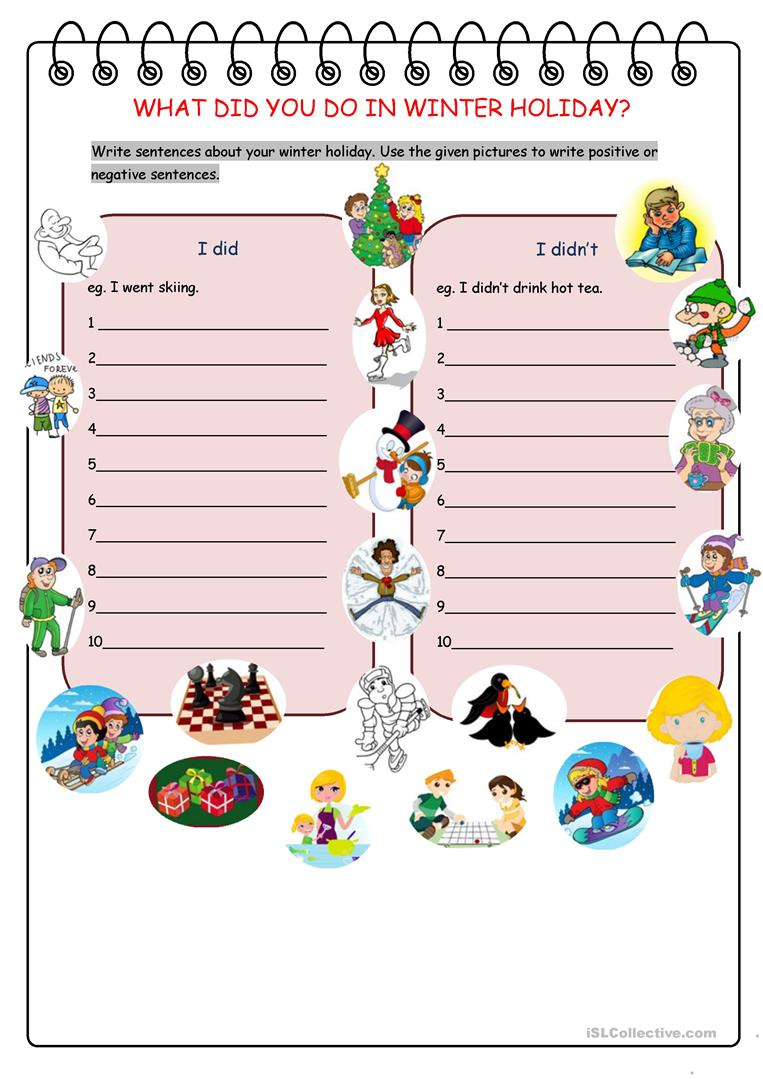 What Did You Do In Winter Holiday? Worksheet - Free Esl Printable | Winter Holidays Worksheets Printables