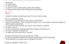 Birth Plan Worksheet Printable